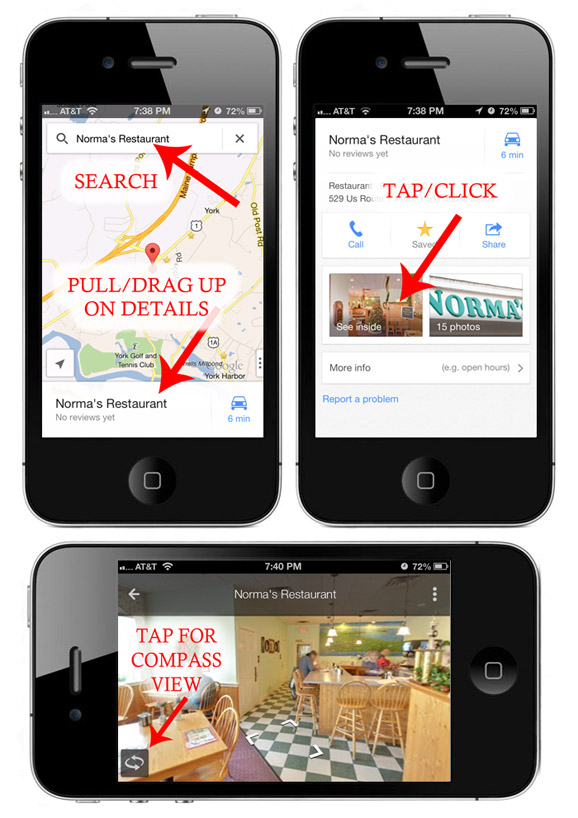 Google Maps iPhone Virtual Tour Instructions