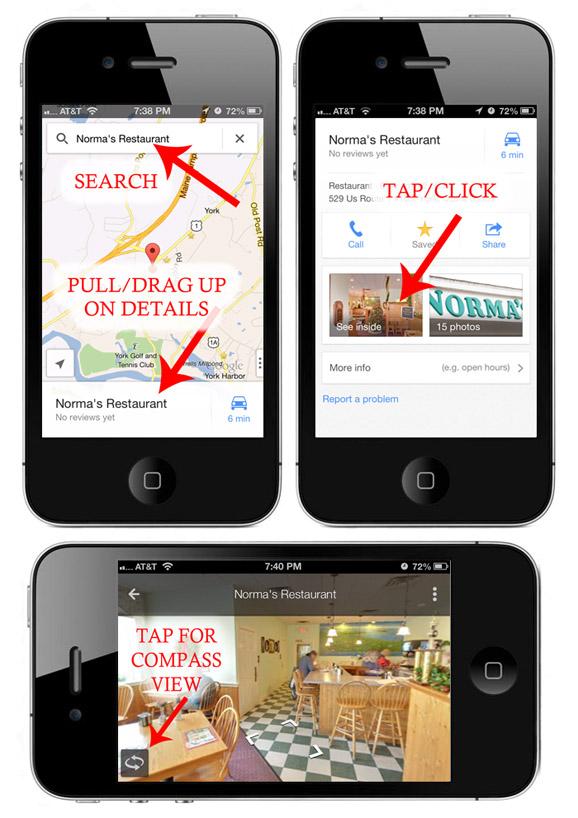 Google Maps iPhone Virtual Tour Instructions